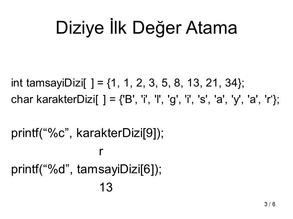 Dizi Parametreler void ilkDegerAta(int diziYerel[ ], int diziBoyu, int deger); void ilkDegerAta(int *diziYerel, int diziBoyu, int deger);